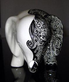 Lucky Elephant Bank  Half White Half by StephanieCeramics on Etsy, $80.00