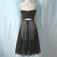 Vintage 60s Mexican Lace Bustier Dress ChaCha Skirt Top Black Handmade Lace.