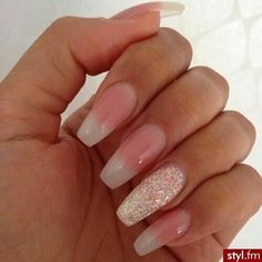 Clear pink fade acrylic nails
