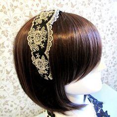 Royal Victorian Vintage 6cm Wide Lace Headband - Black