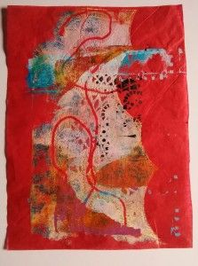 Red Tissue Gelli Print - I'm immersing myself in Gelli Printing right now and aiming for 101 prints! Visit the site to see how I got on.
