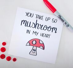 You take up so mushroom in my heart mushroom lover mushrooms shrooms funny card punny pun joke valentines boyfriend girlfriend partner love card etsy Birthday Gifts For Girlfriend, Boyfriend Birthday Cards, Girlfriend Presents, Birthday Presents, Boyfriend Birthday Ideas Creative, Diy Birthday Cards, Handmade Gifts For Girlfriend, Cute Puns, Funny Puns