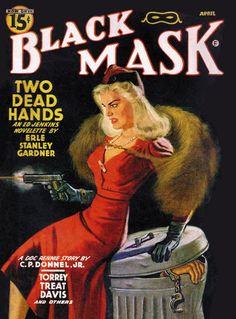 Vintage Black Mask crime fiction pulp magazine cover, April 1942, feat. Erle Stanley Gardner