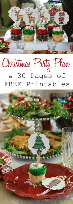 What a wonderful collection! Christmas Party Plan and 30 pages of free Christmas Party Printables from HappyandBlessedHome.com Beautiful graphics of Santa and Mrs. Clause including cupcake toppers, a holiday banner, napkin ring holders, name tags, invitations and more! #StouffersHoliday ad