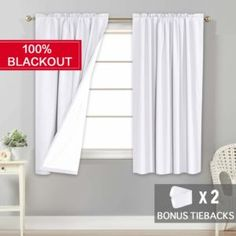 Flamingo P White Waterproof Curtains for Bedroom/Living Room Blackout Drapes 63 inch Long, Insulated Rod Pocket Blackout Curtains 2 Bonus Tie-Backs, 2 Panels