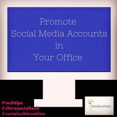 """#TechTips Post your Social Media accounts in your office.  What I mean by this is to put the social media site logos that you participate in within your office in a variety of ways and get as creative as you can with this.  Some ideas to get you started are to have an image framed and hung up or in a frame and on a table that says """"Check in on Facebook"""" or """"Leave us a Review on Facebook"""" you can have decals on your front door or window add your social media icons to all internal educational…"""