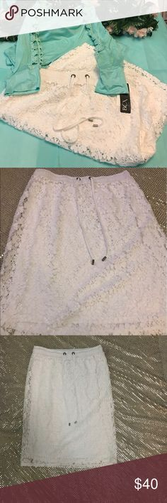 """NWT White Crochet Stretch Waist Summer Skirt Brand new with tags never worn. The more you bundle the better deal I can give you. Just comment for any kind of help I am here for you! I strive for quality items at the best price. I consider offers, am a fast shopper, & top rated seller. This is for the bottoms only, the items paired may be available in my boutique. The skirt is about 24"""" long and 15"""" waist flat. Calvin Klein Skirts"""