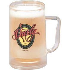 "Frosty Mug...Frosty Mug. 12 oz double-walled clear PS re-freezable mug. Non-toxic gel freezes to keep drinks cold. Freeze mug upside down 2 to 4 hours maximum. Size: 6"" x 3 1/4"" diam."