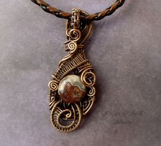Copper wire wrapped pendant Wire Wrapped by PillarOfSaltStudio, $45.00
