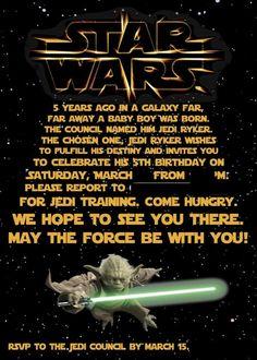 Free Samples Printable Star Wars Birthday Invitations
