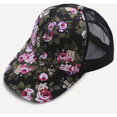 Floral Print Front Black Mesh Snapback Baseball Cap (25 RON) ❤ liked on Polyvore featuring accessories, hats, black, baseball hats, mesh ball caps, mesh hats, floral hat and floral ball cap