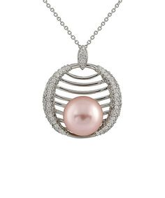 Pink Cradled Shell Pearl Pendant Necklace great with pink and gray wedding