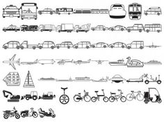 various elements of vector silhouette traffic class 57 elements