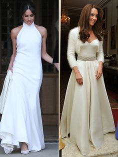 Meghan Markle and Kate Middleton both changed into sexier looks for their evening wedding receptions Evening Wedding Receptions, Evening Dresses For Weddings, Bridal Dresses, Reception Dresses, Wedding Ceremony, Kate Middleton Wedding, Kate Middleton Dress, Prince Harry Et Meghan, Princess Meghan