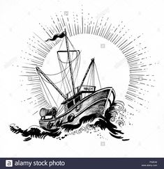 sea drawing Trawler boat in stormy sea. Ink black and white drawing Stock Photo Segel Tattoo, Sailing Tattoo, Trawler Boats, Storm Tattoo, Sea Drawing, Boat Illustration, Sea Storm, Fish Drawings, Stormy Sea