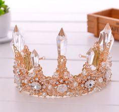 2016 Gold Queen Rhinestones Crown Bridal Tiara Headband Wedding Hair Accessories #Headbandcrown
