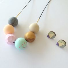 Handmade Polymer Clay Beads Necklace + Hand Painted Droplet Design Earrings