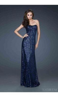 Cute Sleeveless No Waist/Princess Seams Dark Navy Elastic woven satin Tube Prom Dress Sale tzdress3782