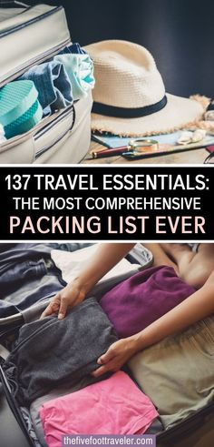 """137 Travel Essentials: the Most Comprehensive Packing List EVER. This is everything you can possibly need when packing for a trip. It's a guideline for the most efficient ways to go about packing your travel essentials. Find the most useful carry on essentials, packing and clothing essentials, outdoor essentials, fitness """"on the go"""" essentials, reading essentials, and business management essentials. 