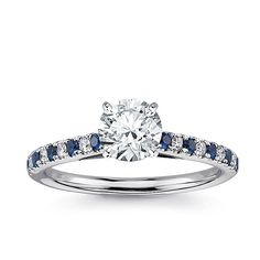 Beautiful Diamond Sapphire Wedding Ring With Diamond Engagement Ring With Diamond And Sapphire Sidestones In Wedding Rings Engagement Solitaire, Engagement Ring Shapes, Wedding Rings Solitaire, Engagement Ring Settings, Engagement Rings With Sapphires, Engagement Ideas, Bridal Rings, Cool Wedding Rings, Wedding Ring Designs