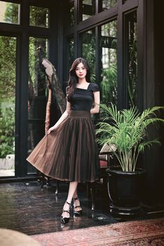 66 Ideas For Style Fashion Romantic Casual Korean Fashion Dress, Korean Outfits, Asian Fashion, Women's Fashion Dresses, Skirt Fashion, Dress Outfits, Dress Up, Cute Fashion, Look Fashion