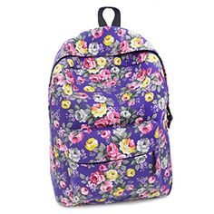 Coofit 2015 Summer Fashion Trend Printing Sweet Flowers College Backpack(Purple)