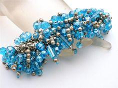 Statement Beaded Bracelet Blue Glass Cha Cha Beads Wide Vintage Jewelry   #Chacha