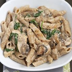 Creamy Chicken Pasta with Mushrooms and Spinach