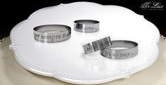 """Fedi Piatte con incisioni """"A  Coppia"""" l'idea di queste fedine e' incidere una frase simbolo per la coppia di fidanzati - TiLux - TITANIUM LUXURY - Made in Italy"""