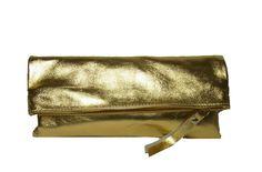 LEDER CLUTCH GOLD PURISTISCHES DESIGN von         by isoncaDesign  auf DaWanda.com