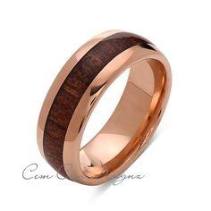 8mm,Unique,Rose Gold,Koa Wood,Tungsten RIng,Rose Gold,Wedding Band,wood…