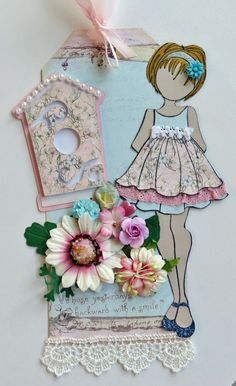 I made this tag for a Julie Nutting Tag Swap Pink & Blue Birdhouse 2 JN Doll One Tag - Scrapbook.com