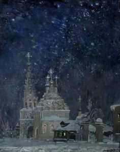 Christmas by Michael Abakumov Russian Painting, Russian Art, Nocturne, Forest Art, Creatures Of The Night, Fantasy Paintings, Tumblr, Winter Wonder, Christmas Illustration