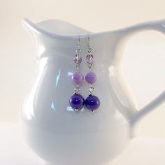 Triple Purple Earrings With Antique Silver by CinLynnBoutique, $18.00