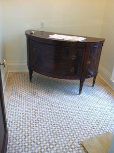 Chest for powder bath. Marble floor