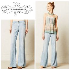 Anthropologie wide leg pants by Level 99 chambray size 28