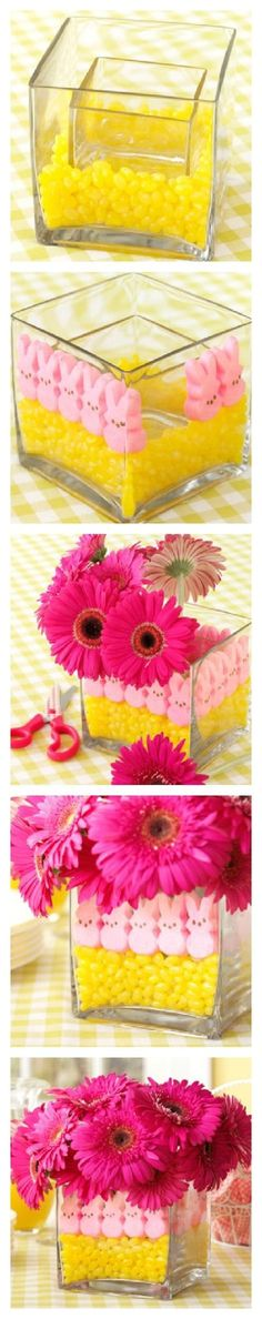 Cute flower pot with peps and jelly Beans perfect for Easter and spring time !