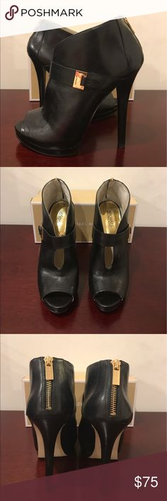 Michael Kors open toe booties size 9.5 SEXY!! These NEW MK leather open toe heels are absolutely gorgeous! Size 9.5 and deserve to be worn for many nights out not stuck in my closet. Retail for $198. Michael Kors Shoes Ankle Boots & Booties