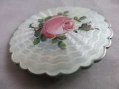 Norwegian guilloche enamel rose sterling silver brooch pin Ivar T Holth18g