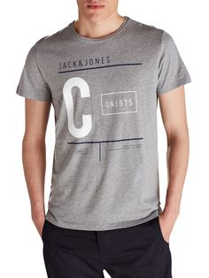 GRAPHIC BRAND PRINT T-SHIRT, Light Grey Melange