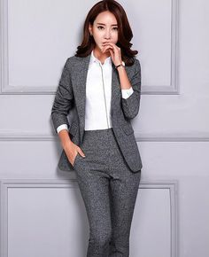 Women's Pant and Blazer Suit Simple Long Slim for Business – omymarts Work Suits For Women, Pants For Women, Business Attire, Business Women, Ladylike Style, Pantsuits For Women, Office Ladies, Beautiful Gowns, Blazer Suit
