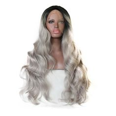 39.20$  Watch more here - http://ai8j1.worlditems.win/all/product.php?id=32779336462 - Ombre Grey Wig Long Wavy Lace Front Synthetic Wig For Black Women Perruque Synthetic Women Wigs Pelucas Sinteticas Lace Frontal