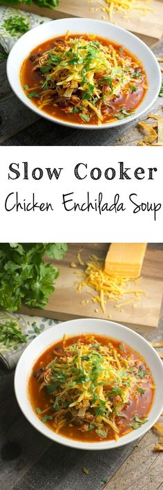 Slow Cooker Chicken Enchilada Soup! Healthy, easy and totally gluten free! #slowcooker www.maebells.com