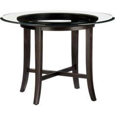 "Halo Ebony Dining Table with 42"" Glass Top in Dining, Kitchen Tables 