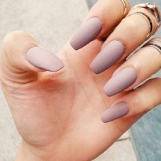 Coffin nails. Matte nails. Cute nails.