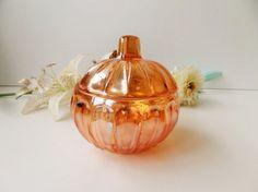 Vintage French Depressed Iridescent Orange Glass Sugar Bowl With Lid by pentyofamelie on Gourmly