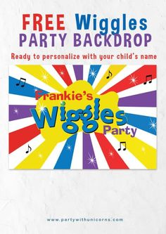Perfect for a Wiggles Birthday Party. If you are looking for more wiggles party decorations be sure to checkout the post for more printable wiggles decorations. Wiggles Party, Wiggles Birthday, The Wiggles, Girls Birthday Party Games, Birthday Activities, Girl Birthday, Birthday Ideas, Party Kulissen, Party Ideas