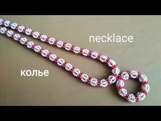 Necklace. Колье с подвеской. МК - YouTube Tatting Jewelry, Bead Jewellery, Beaded Jewelry Patterns, Beading Patterns, Crochet Flower Tutorial, Bead Crochet, Beading Tutorials, Bead Art, Bead Weaving