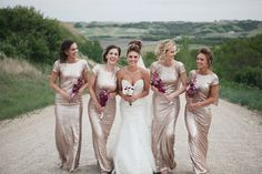 Bridesmaid dress Long CHAMPAGNE Sequin bridesmaid by VanelDesign