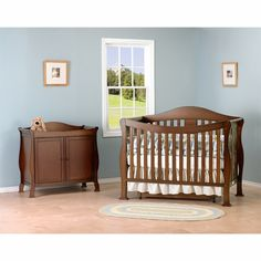 DaVinci 2 Piece Nursery Set - Parker 4 in 1 Convertible Crib with Toddler Rail and 2 Door Changing Table in Coffee